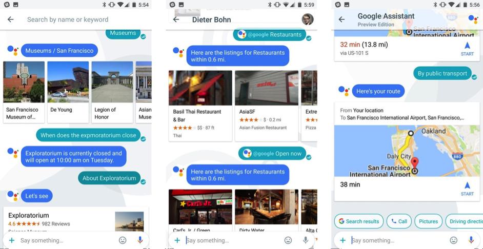 Diversas capturas de pantalla de la aplicación Allo, donde el usuario interactúa con el asistente.